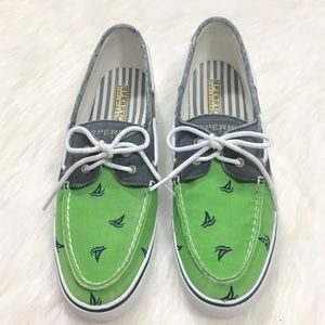 Sperry Green Blue Sailboats Boat Shoes Sneakers 10